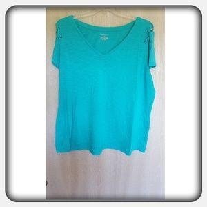 Woman's Green Blue Lane Bryant Top Size 22/24